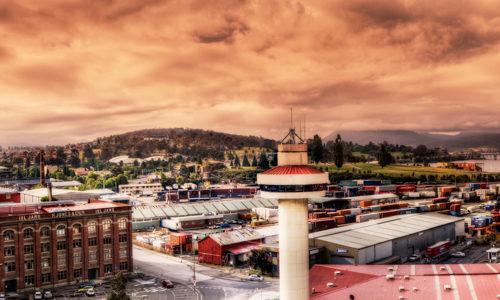 Panorama Aufnahme am Hafen von Hobart, der Hauptstadt Tasmaniens, Australien