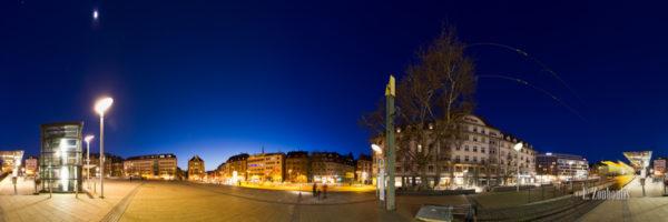 360 Grad Panorama am Marienplatz in Stuttgart. Rechts im Bild ist die Zahnradbahn zu sehen