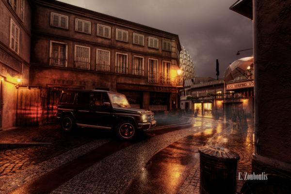 Nachtaufnahme eines Mercedes Benz G63 im Europapark nach einem Gewitter