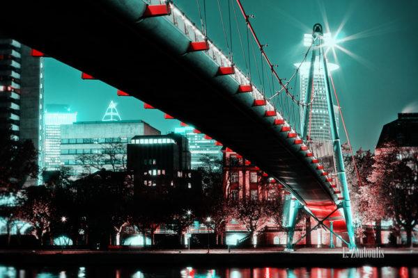 Nachtaufnahme am Schaumainkai in Frankfurt am Main. Zu sehen ist die Brücke, die über den Main führt und die Hochhäuser im Hintergrund in einer grün/blau roten Stimmung