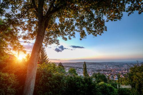 Ausblick vom Santiago de Chile Platz in Stuttgart an der alten Weinsteige Richtung Innenstadt Stuttgart. Im Vordergrund ein Baum und links im Bild die tiefstehende Sonne, die die Dächer der Häuser erhellt