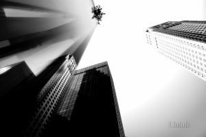 Schwarzweißaufnahme in New York City mit Blick hoch auf die Wolkenkratzer der Stadt. An der Glasfassade spiegeln sich die Hochhäuser gegenseitig