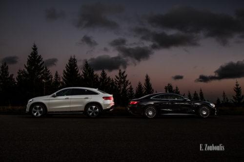 Abend Aufnahme am Schwarzwald mit einem Mercedes GLE und einer Mercedes S-Klasse