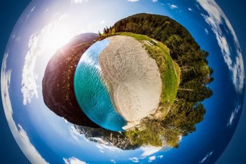 360 Grad Rundum-Aufnahme vom Plansee. Als kleiner Planet geformt