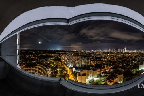 Panorama Wandbild der Skyline Frankfurt in der Nacht