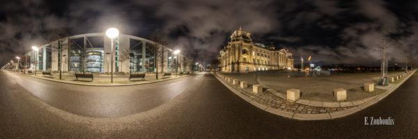 Berlin Amplitude - 360 Grad Fotografie zwischen dem Reichstag und dem Paul Löbe Haus in Berlin bei Nacht