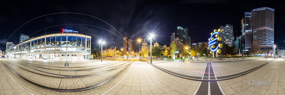 Frankfurt Willy Brandt Platz Panorama - 360 Grad Fotografie am Willy-Brandt-Platz in Frankfurt mit Blick auf die Oper und den Eurotower bei Nacht